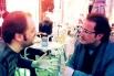 Francesc Miralles i David Escamilla, dos amics en una plaça de Gràcia. Primavera 2013