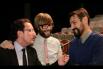 Dialogant amb Òscar Dalmau i Òscar Andreu abans d'otorgar els ''Premis Salvador Escamilla''. Barcelona, 13 de Febrer 2014, Dia Mundial de la Ràdio